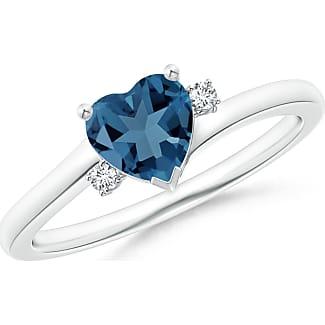 Angara Solitaire Heart London Blue Topaz Chevron Ring with Diamond