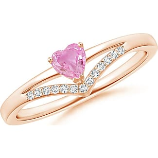 Angara Solitaire Heart Pink Sapphire Ribbon Shank Ring with Diamond