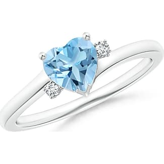 Angara Solitaire Heart London Blue Topaz Chevron Ring with Diamond