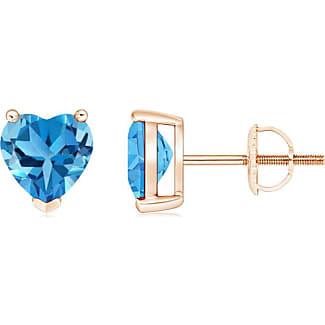 Angara Swiss Blue Topaz and Diamond Chevron Stud Earrings