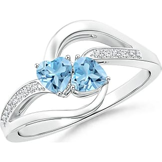 Angara Two Stone Heart Swiss Blue Topaz Bypass Ring with Diamonds