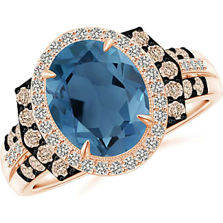 Angara Vintage Style London Blue Topaz Cocktail Ring with Diamond Halo