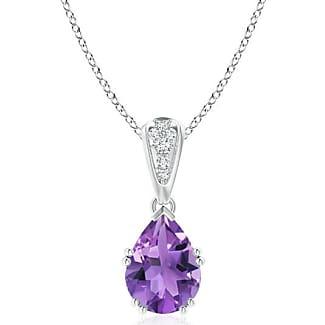 Angara Amethyst Teardrop Pendant with Diamond Accents