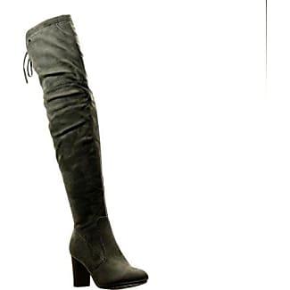 Angkorly - damen Schuhe Stiefel - Reitstiefel - Kavalier - Flexible - Knoten Blockabsatz 2 CM - Grau F2163 T 38