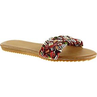 Angkorly Damen Schuhe Sandalen Flip-Flops - String Tanga - Geflochten - Strass Flache Ferse 1.5 cm - Rot B-5 T 39