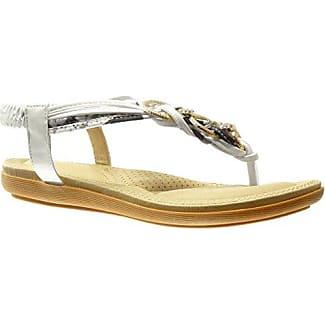 Angkorly Damen Schuhe Sandalen Flip-Flops - String Tanga - Geflochten - Strass Flache Ferse 1.5 cm - Grau B-5 T 40