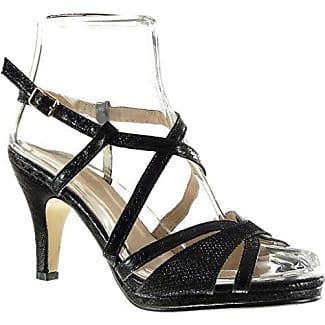 Angkorly Damen Schuhe Sandalen Pumpe - Sexy - Schlangenhaut - String Tanga - Glänzende Trichterabsatz 9 cm - Schwarz 168-38 T 40