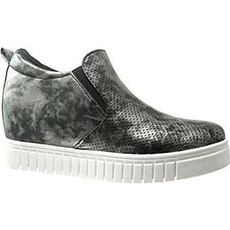 Angkorly Damen Schuhe Sneaker - Plateauschuhe - Perforiert Keilabsatz High Heel 6 cm - Weiß A16 T 39