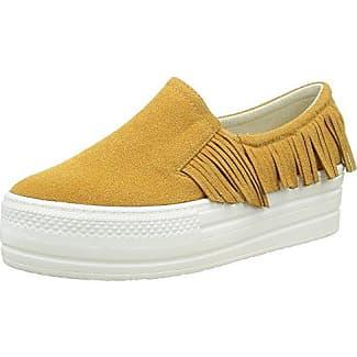 Angkorly Damen Schuhe Sneaker - Plateauschuhe - Slip-On - Fransen Keilabsatz High Heel 5 cm - Khaki 633-1 T 37