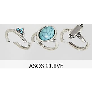 ASOS DESIGN Curve pack of 3 stone and ball detail rings - Burnished silver Asos Curve