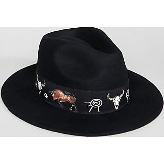 Felt Panama Hat with Print Band with Size Adjuster - Black Asos
