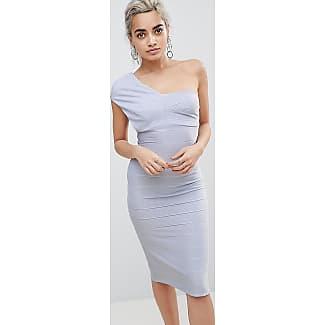 One Shoulder Bandage Midi Bodycon Dress - Baby blue Asos Petite