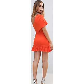 Scuba Bodycon Dress with Flippy Hem - Orange Asos Petite