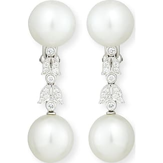 Assael Platinum South Sea Pearl & Single Diamond Drop Earrings