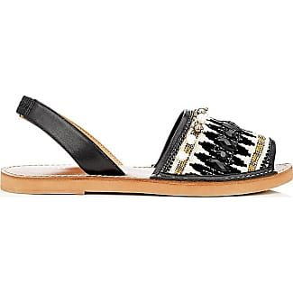 Womens Embellished Leather & Canvas Slingback Sandals Barneys New York