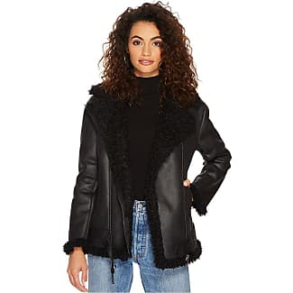 Black womens coat with fur