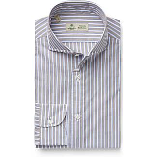 Linen shirt Felice shark collar blue striped Borrelli Napoli