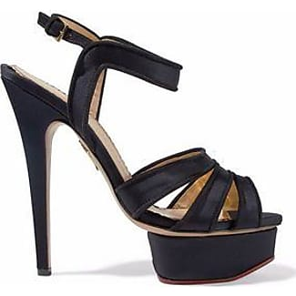 Charlotte Olympia Woman Crystal-embellished Cutout Suede And Mesh Platform Sandals Black Size 35.5 Charlotte Olympia