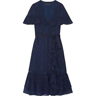 Co Woman Ruffled Wrap-effect Fil Coupé Silk-chiffon Dress Midnight Blue Size XS Co