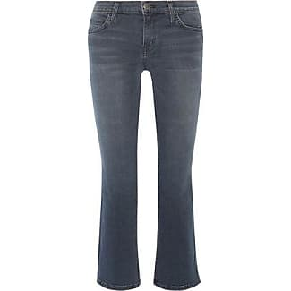 Current/elliott Woman Distressed Mid-rise Flared Jeans Mid Denim Size 30 Current Elliott