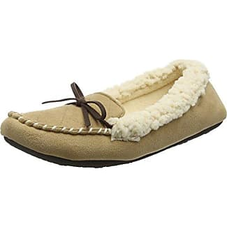 Dearfoams Microsuede Moc with Quilted Tab and Memory Foam - Zapatillas Bajas para Mujer, Color Beige (Desert 00288), Talla 38-39 EU (5-6 UK)