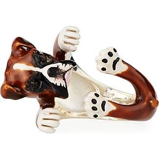 Dog Fever Doberman Pinscher Enameled Dog Hug Ring, Size 7