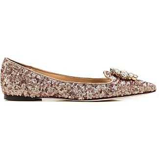 Ballet Flats Ballerina Shoes for Women On Sale in Outlet, Pink, paillettes, 2017, 3 Dolce & Gabbana