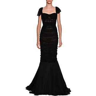 Dolce Gabbana Sweetheart Neck Ruched Tulle Trumpet Evening Gown