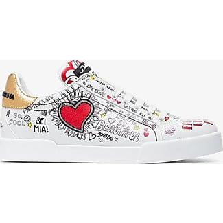 Dolce & Gabbana Graffiti Heart Print Leather Sneakers
