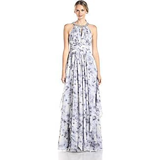 Donna Morgan Womens Halter Beaded Neck Printed Gown Lavender 0