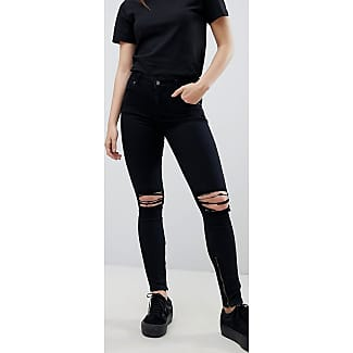 Mid Rise Ripped Ankle Grazer Jeans - Wrecking black Dr. Denim