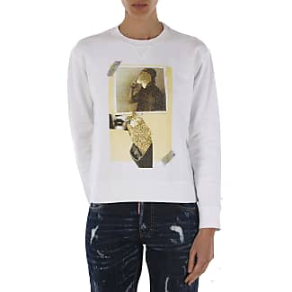 Sweatshirt for Women On Sale, White, Cotton, 2017, 10 8 Dsquared2