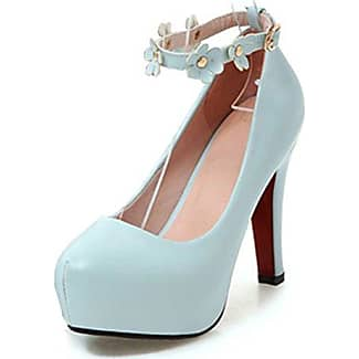 Easemax Damen Elegant Lackleder Knöchelriemchen Plateau Pumps Schuhe Weiß 38 EU