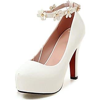 Easemax Damen Elegant Einfarbig Lack Low-Cut Plateau High Heels Pumps Weiß 39 EU