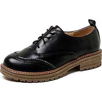 Easemax Damen Fashionable Runde Zehen Durchgängiges Plateau Brogue Sneakers Schwarz 36 EU