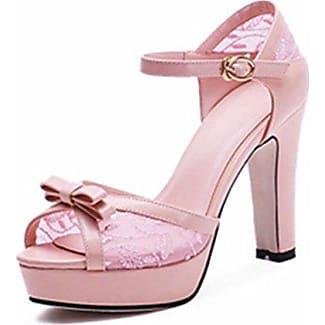 Easemax Damen Elegant Lackleder Knöchelriemchen Plateau Pumps Schuhe Weiß 35 EU