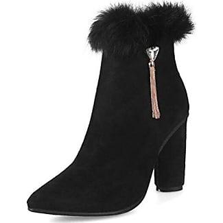 Easemax Damen Sexy Quaste Spitze Zehe High Heels Ankle Boots Mit Absatz Schwarz 37 EU