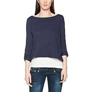 EDC by Esprit Im Materialmix, Camiseta sin Mangas para Mujer, Azul (Navy 400), M (Talla del Fabricante: M)