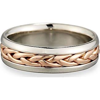 Eli Jewels Gents Woven Platinum & 18K Gold Wedding Band Ring, Size 10