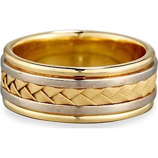 Eli Jewels Gents Center Weave Wedding Band Ring in 18K Rose Gold & Platinum, Size 9.5