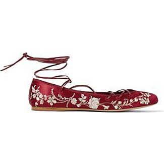 Etro Woman Lace-up Embroidered Satin Ballet Flats Claret Size 35.5