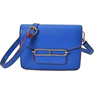 Frau PU-Shell-Paket Geprägte Handtasche Schultertasche Messenger Bag,Blue-OneSize GKKXUE