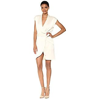 Halston Heritage Womens Cap Sleeve Satin Shirtdress Cream Xs