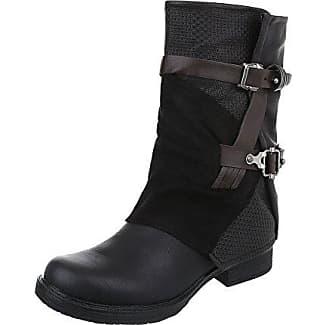 Ital-Design Western- & Bikerstiefel Damen-Schuhe Cowboy Stiefel Blockabsatz Blockabsatz Reißverschluss Stiefel Schwarz, Gr 36, 211-Pa-