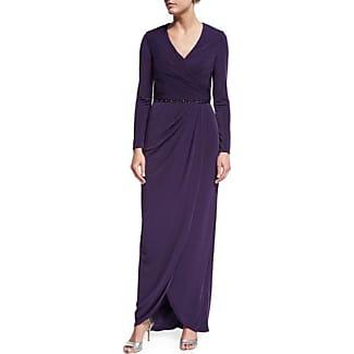 La Femme Long Sleeve Beaded Jersey Faux Wrap Dress Plum