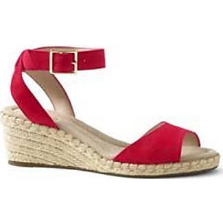 Womens Cross-strap Espadrille Sandals - 4.5 - RED Lands End