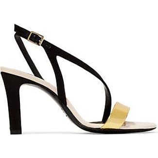 Lanvin Woman Metallic Patent Leather-trimmed Leather Sandals Size 37.5