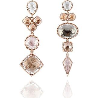 Larkspur & Hawk Sadie Mismatched Three-Drop Earrings in Multi-Peach Foil