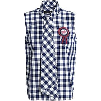 Love Moschino Woman Gingham Cotton-poplin Shirt Navy Size 46 Love Moschino