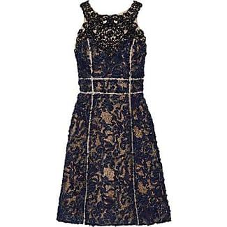 Marchesa Notte Woman Ruffled Appliquéd Stretch-cady Dress Indigo Size 6 Marchesa